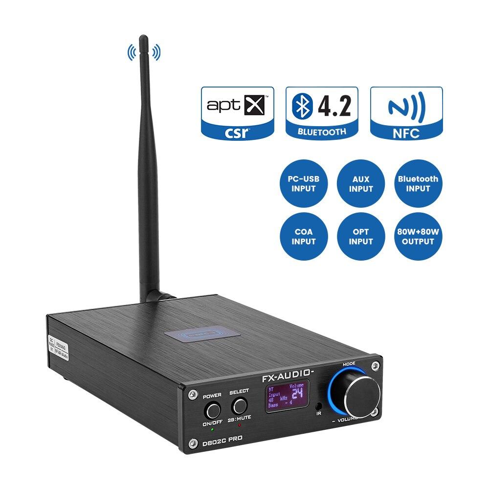 FX-Audio D802C PRO Wireless Bluetooth 4.2 80W*2 Pure Digital Audio Amplifier Support APTX NFC USB/AUX/Optical/Coaxial 24Bit